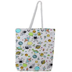 Space Pattern Full Print Rope Handle Tote (large)