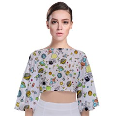 Space Pattern Tie Back Butterfly Sleeve Chiffon Top