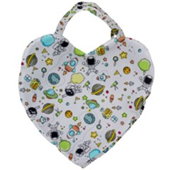Space Pattern Giant Heart Shaped Tote