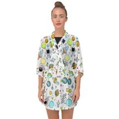 Space Pattern Half Sleeve Chiffon Kimono