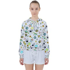 Space Pattern Women s Tie Up Sweat