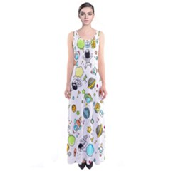 Space Pattern Sleeveless Maxi Dress