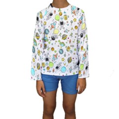 Space Pattern Kids  Long Sleeve Swimwear