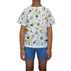 Space Pattern Kids  Short Sleeve Swimwear