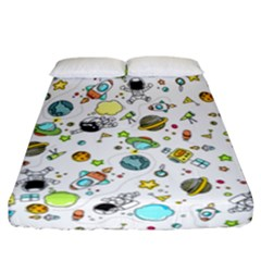 Space Pattern Fitted Sheet (california King Size)