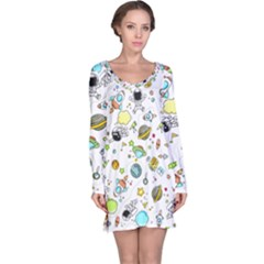 Space Pattern Long Sleeve Nightdress