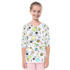 Space Pattern Kids  Quarter Sleeve Raglan Tee