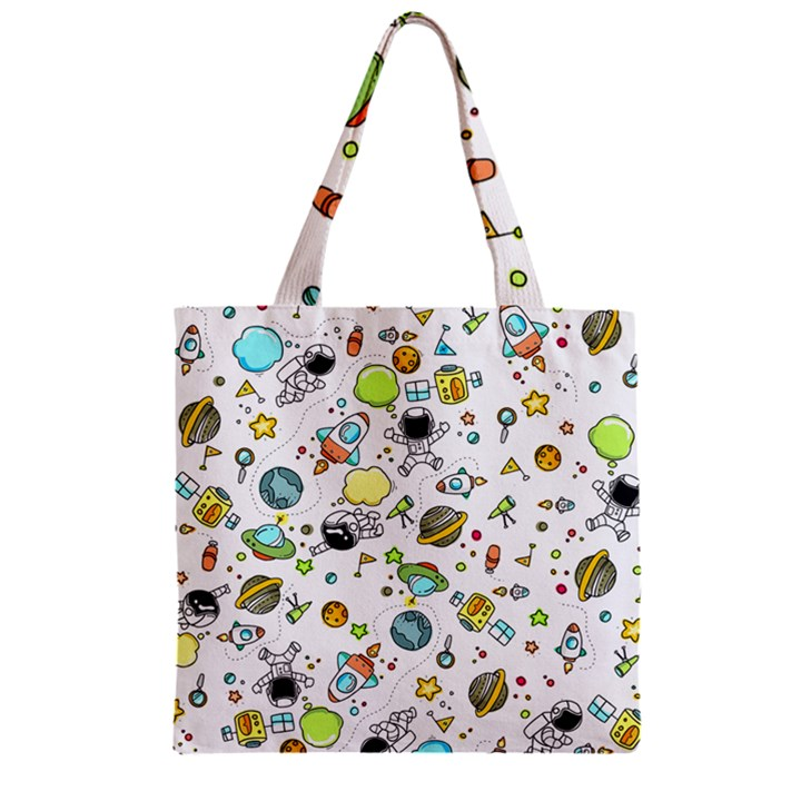 Space Pattern Zipper Grocery Tote Bag
