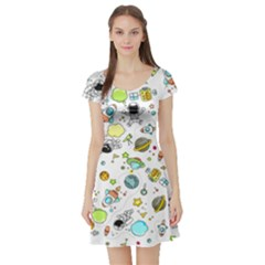 Space Pattern Short Sleeve Skater Dress