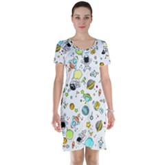 Space Pattern Short Sleeve Nightdress
