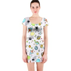 Space Pattern Short Sleeve Bodycon Dress