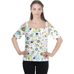 Space Pattern Cutout Shoulder Tee