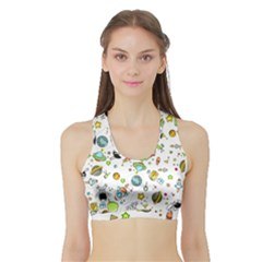 Space Pattern Sports Bra With Border