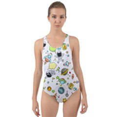 Space Pattern Cut Out Back One Piece Swimsuit