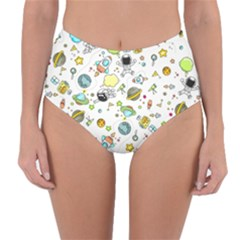 Space Pattern Reversible High Waist Bikini Bottoms