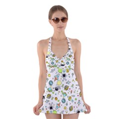 Space Pattern Halter Dress Swimsuit