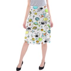 Space Pattern Midi Beach Skirt