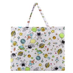 Space Pattern Zipper Large Tote Bag