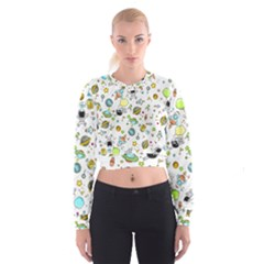 Space Pattern Cropped Sweatshirt