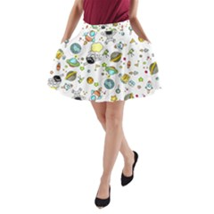 Space Pattern A Line Pocket Skirt