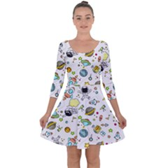 Space Pattern Quarter Sleeve Skater Dress