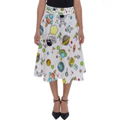 Space Pattern Perfect Length Midi Skirt