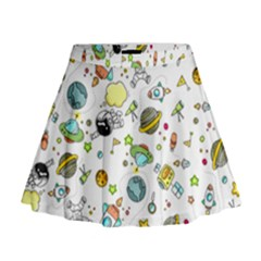 Space Pattern Mini Flare Skirt