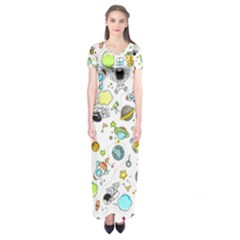 Space Pattern Short Sleeve Maxi Dress