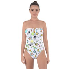 Space Pattern Tie Back One Piece Swimsuit
