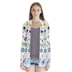 Space Pattern Drape Collar Cardigan