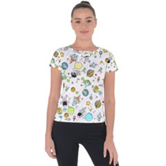 Space Pattern Short Sleeve Sports Top