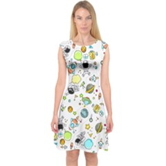 Space Pattern Capsleeve Midi Dress