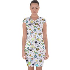Space Pattern Capsleeve Drawstring Dress