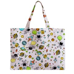Space Pattern Zipper Medium Tote Bag