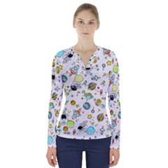 Space Pattern V Neck Long Sleeve Top