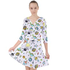 Space Pattern Quarter Sleeve Front Wrap Dress