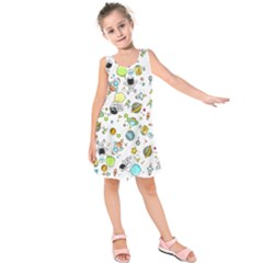 Space Pattern Kids  Sleeveless Dress