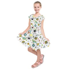 Space Pattern Kids  Short Sleeve Dress