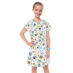 Space Pattern Kids  Drop Waist Dress