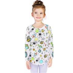 Space Pattern Kids  Long Sleeve Tee