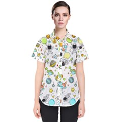 Space Pattern Women s Short Sleeve Shirt