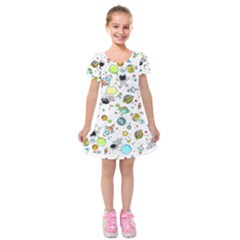 Space Pattern Kids  Short Sleeve Velvet Dress