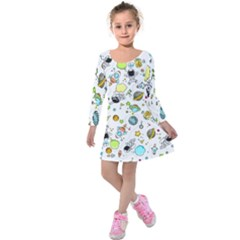 Space Pattern Kids  Long Sleeve Velvet Dress