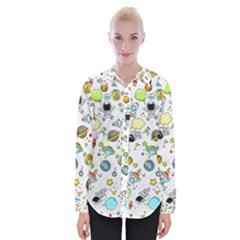 Space Pattern Womens Long Sleeve Shirt