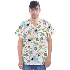 Space Pattern Men s V Neck Scrub Top
