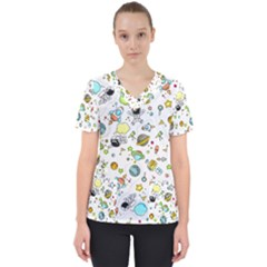 Space Pattern Scrub Top