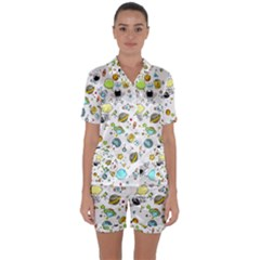 Space Pattern Satin Short Sleeve Pyjamas Set