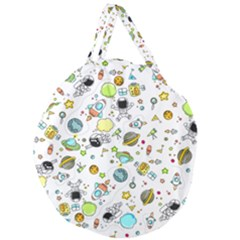 Space Pattern Giant Round Zipper Tote