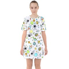 Space Pattern Sixties Short Sleeve Mini Dress