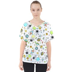 Space Pattern V Neck Dolman Drape Top